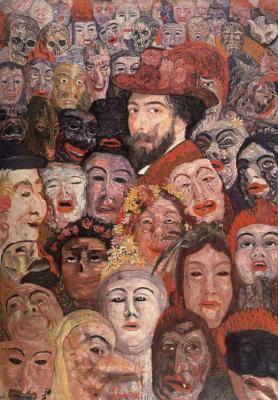 Portrait de l'artiste entouré de masques - 1889James Ensor (1860 - 1940)